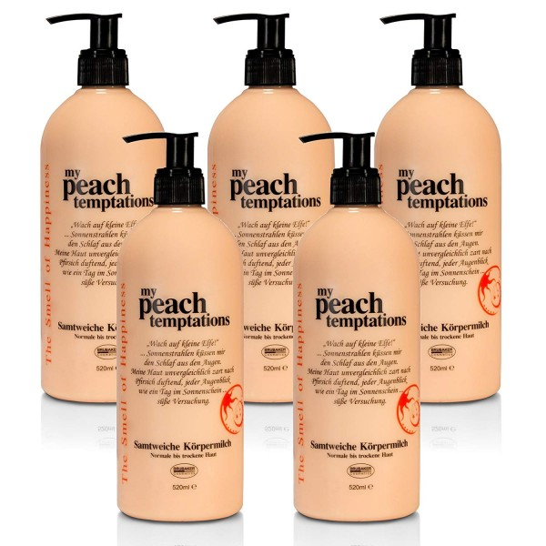 BRUBAKER Happiness My Peach Temptations Set 5x Body Lotion à 520 ml, Pfirsich